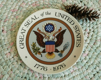 Vintage Great Seal of the United States Decorative Plate - Americana Decor + Military Gift, Retro Patriotic Home Decor, Historical Wall Arts