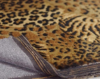 7/16-inch Wildcat Animal Print Synthetic Faux Fur Fabric Under 1/2 Yd