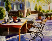 Downloadable, digital art print of PROVENCE TABLE,  oil on canvas, painting, art
