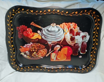 Vintage Large Coke Coca Cola Metal Tray with Food and Bottles on It