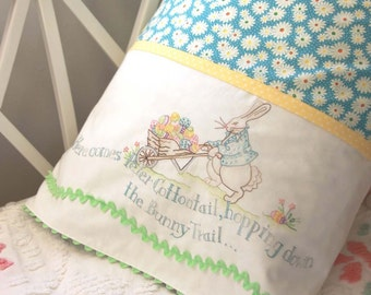CRABAPPLE HILL PATTERN: Here Comes Peter Cottontail Easter Pillowcase