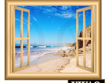 Sandy Beach Scene Wall Decal Nature Window Frame Peel And Stick Mural NW61