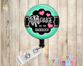 Personalized - Chest Xray with Hearts - Xray Tech Radiology Technician - Button Badge Reel - Retractable ID Holder - Alligator or Slide Clip