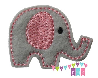 Baby Elephant on Light Pink on Grey Felt Embroidered Embellishment Clippie Cover SET of 4