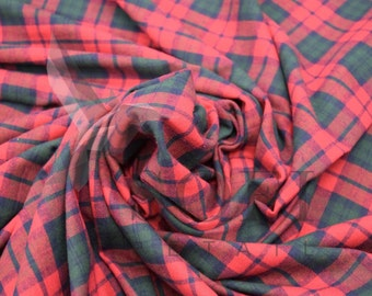 Cotton Flannel Plaid 24 Tartan Fabric by the Yard