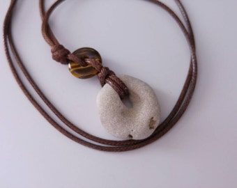 Natural Beach Stone Pendant Necklace with Tiger's Eye Disc Charm. Hag Stone Rock. Metaphysical Holey Stone Protection, Luck, Eco Jewelry