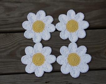 Daisy Coasters, Crochet Daisy Coasters, Floral Coasters, Flower Coasters, Crochet Coasters, Daisy, Handmade Coaster, 100% Cotton Coasters