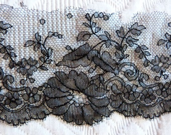 Antique French floral embroidered black lace trim w roses trimming edging passementerie w floral design vintage French textile sewing supply