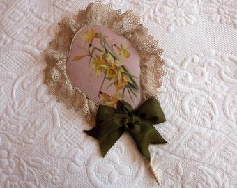 Antique hand fan 1800s silk fan French hand painted silk handfan w lace, daffodil,ribbon bow, bone handle, French boudoir ladies accessories