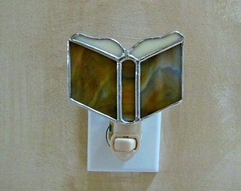 Prayer Book Stained Glass Night Light -Rich Earthy Toned Glass - Authentic Stained Glass - Bible Night Light, Pastor. Religious Gift