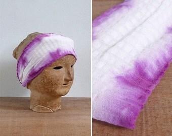 20% CNY SALE - Vintage 80's Turban Twist Purple Tie Dye Headband
