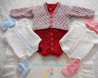 Knitting PATTERN No. 13 DBRW Boy's & Girl's 0-3 Month Size Vest /Onsie/Romper with Cardigan Set PDF Format