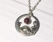 Garnet Stone Mermaid Necklace January Birthstone Bridesmaid Gift Idea Mothers Day
