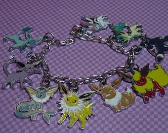 Pokemon Evolution Charm Bracelet, Anime Jewelry, Gamer Jewelry, Anime Gift, Pokemon Charms, Otaku