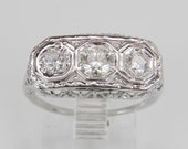 RESERVED for Mary Antique Art Deco 18K White Gold 3 Stone Diamond Anniversary Ring Band Size 5