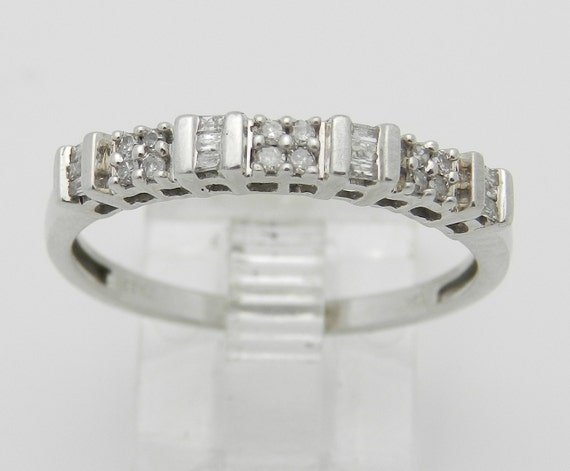 Diamond Wedding Ring Anniversary Band Stackable White Gold Size 8.5