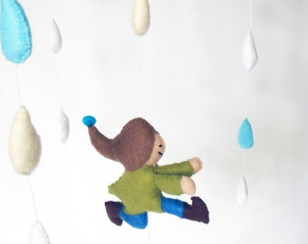 Running Through Raindrops, Nursery Decor, New Baby Gift, Any Gender Mobile, Cot Mobile, Baby Mobile,  Hanging Decoration