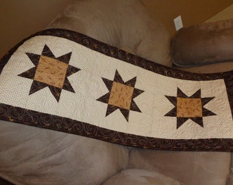 Sawtooth Star Table Runner, Country Quilt Runner 1016-04