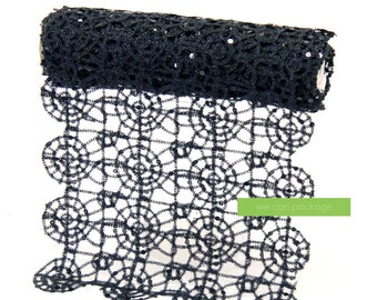 """Black Lace Table Runner Sequin Wedding Runner for Halloween Decor Spiderweb Print Tablecloth - 15"""" x 108"""""""