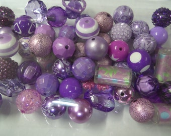 Destash, 18mm plus Beads, Purples, 50 beads or more, not paired, 50B