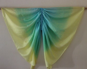 Yellow, Green and Blue Butterfly Wings Costume, Pure Silk Fairy Wings