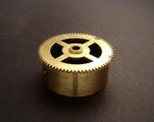 Large Brass Cylinder Gear, Mainspring Barrel from Vintage Clock Movement, Vintage Clockwork Mechanism Parts, Steampunk Art Supplies 03914