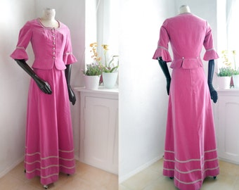 Vintage Historical Costume two piece PINK rose VELVET German wedding Dirndl maxi skirt Jacket  Fantasy renaissance Outfit
