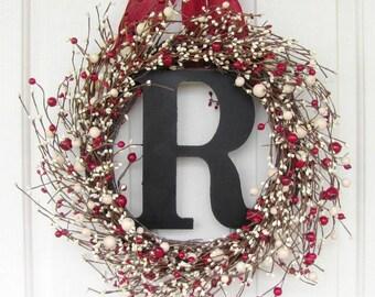 STORM DOOR Wreath - MONOGRAM Wreath - Valentine Wreath - Christmas Wreath - Ivory & Red Berry Wreath - Wedding Door Wreath -  Home Decor