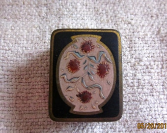 Art Nouveau Volupte'  1920s LacquerTeenyPill Box Snuff Box With InlayGifts for Her, Stocking Stuffer, Gifts under Fifty dollars