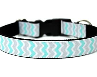 """Chevron Dog Collar 1"""" Aqua Dog Collar Silver Dog Collar"""