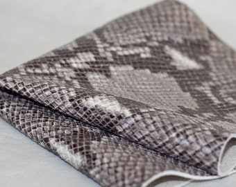 Python Print Genuine Leather, Snakeskin Print Leather, Reptile Embossed Skin Taupe Leather