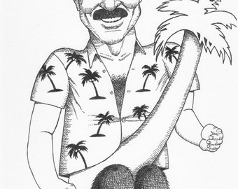 Tom Selleck, his coconut and palm tree cartoon