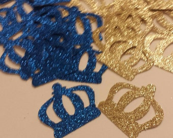 Royal Little Prince Crown confetti Blue Gold Red and Purple Glitter also available 1st Birthday or Baby shower table decor