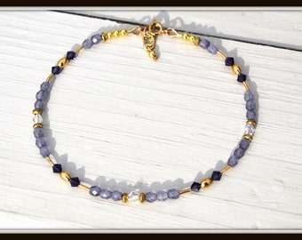 Purple Ankle Bracelet, Purple Anklet, Ankle Jewelry, Summer Anklet, Anklet With Crystals, Crystal Ankle Bracelet, Purple Crystal Anklet