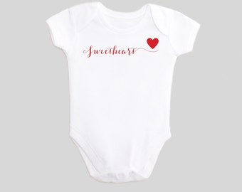 Valentine's Day Shirt Baby Outfit with Sweetheart Calligraphy Wording and Heart on a One Piece Bodysuit