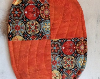 Trivet Oval Quilted Reversible Vibrant Orange Blues Reds Yellows  Hostess Gift Teacher Gift PollyAnna Hot Pad Gift Basket  Filler Fall Decor