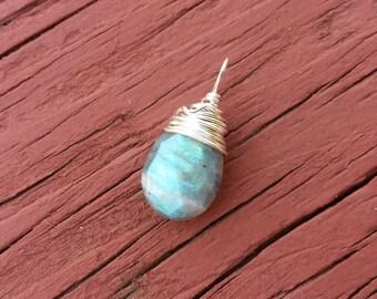 Faceted Labradorite Pendant Wrapped in 925 Sterling Silver Blue Green Flash Labradorite Teardrop Pendant FREE SHIPPING