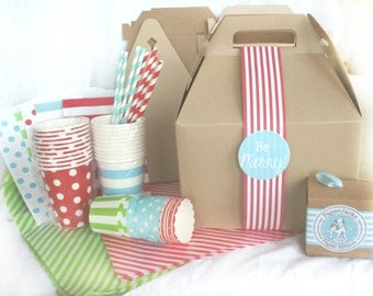Gingerbread Cookie Party for 6-kraft boxes,straws,cups,paper ribbon and label,wax paper,bags,nut cups