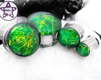 "Entanglement Galaxy Plug / Gauge Green Yellow Faux Dichroic Dichro Iridescent Colour Flash 1/2"" 9/16"" 5/8"" 11/16"" / 12mm 13mm 14mm 16mm 18mm"