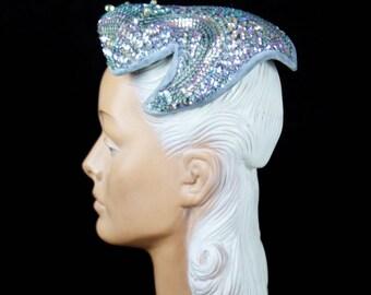 1950s Hat // Iridescent Sequin and Beaded Wire Framed Blue Velvet Trim