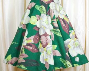 1950s Circle Skirt // Barkcloth Magnolia Flower Full Skirt