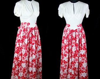 1940s Dress // Old Hollywood Red Floral and Gathered Jersey Floor Length Gown