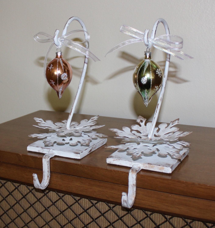 vintage set of 2 distressed stocking holders with vintage. Black Bedroom Furniture Sets. Home Design Ideas