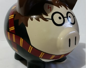 Personalized Piggy Bank, Large Piggy Bank, Harry Potter Piggy Bank, - (Unofficial)  - MADE TO ORDER