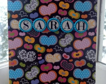 Personalized 8 1/2 x 11 Heart Sketchpad
