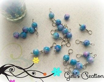 Style 1-Lovely BLUE pre-made dangle beads for bottlecap necklaces, jewelry, etc..