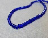 Sparkly Faceted Glass Rondelles. Cobalt Blue. Faceted Crystal Rondelles. 3mm. Full Strand. One (1).
