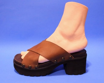 Vintage 90s Womens Brazil Brown Leather Clogs Mules Summer Club Kid Spice Girls Clueless
