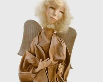 Angel - Doll Angel - Primitive  Folk Art Angel -  Art Sculpture - Handmade Original-  OOAK - Sculpture - Home decor- Paperclay Angel