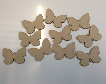 10x Wooden MDF Butterfly Shapes